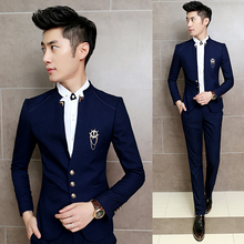 2016 New 2PCS/Set Slim Fit Prom Homme Men Costume Wedding Suits Classic Chinese Collar Party Dress Suits Boys Jacket with Pants