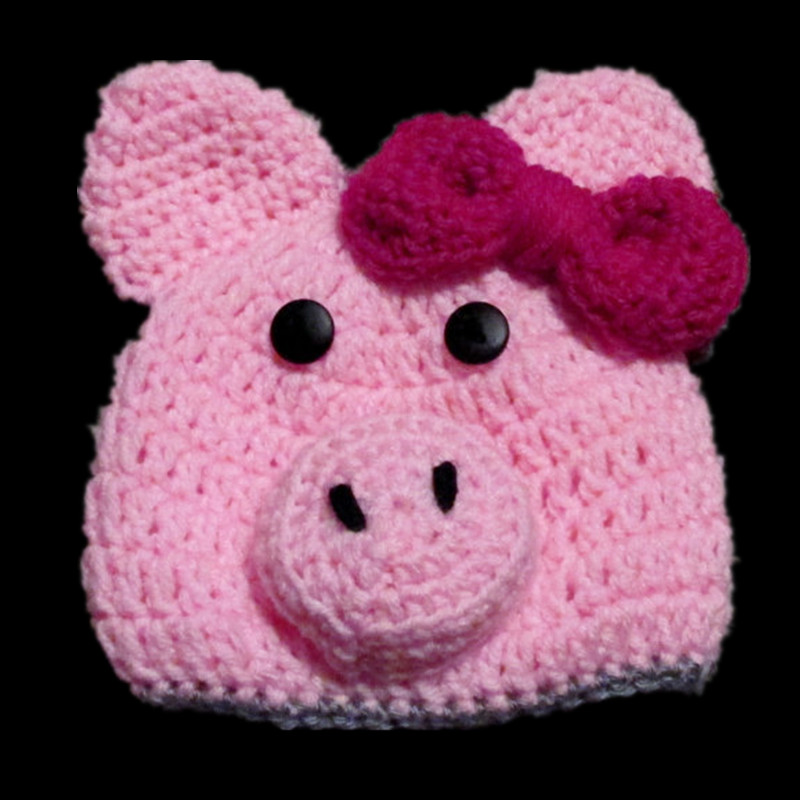 Lovely Pink Piggy Hat,Handmade Knit Crochet Baby Girl Animal Hat with Bow,Child Earflap Winter Hat,Kids Toddler Photo Prop(China (Mainland))