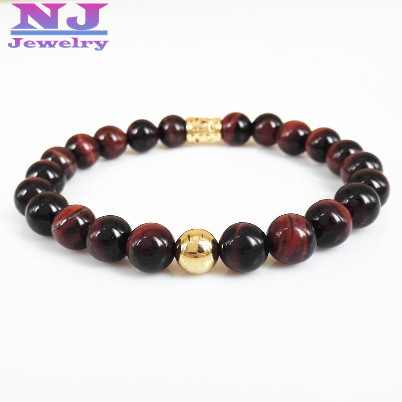 10pcs/lot New Design Red Tiger Eye Buddha Bracelets,High Quality Gem Stone Beads Bracelet for men and women Jewelry,Gift(China (Mainland))