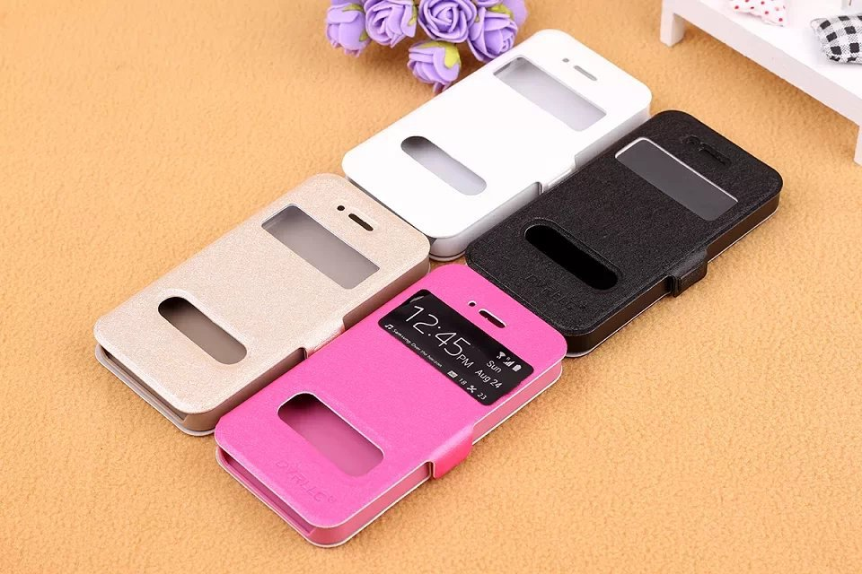 Apple Iphone 4 4S Luxury Double Open Window Silk Pattern Stand Flip Leather Case Cover+ Screen Protector - Shenzhen GenaTX Technology Co., LTD store