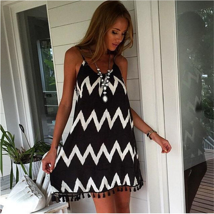 Casual Women Backless Dress Tassel Fringe Trim Dresses Mini Striped Zig Zag Black&White Swing Summer Dress 2015 Vestido Vestidos(China (Mainland))