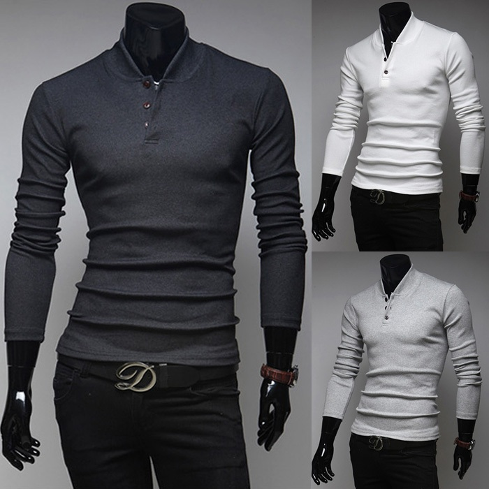 Knitting cotton men 39 s formal polo shirt long sleeve anti for Mens long sleeve pullover shirts