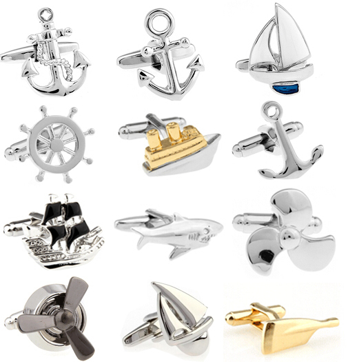 Promotion!! Fashion Cufflinks silver color fashion anchor design copper material free shipping(China (Mainland))