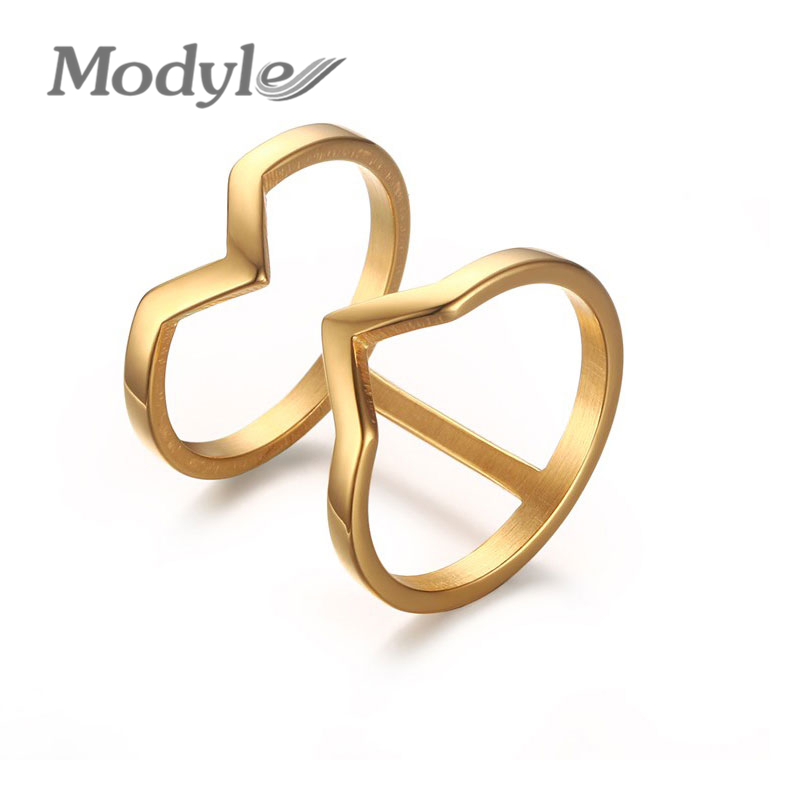 Modyle 18K Gold Plated Engagement Rings Fashion Punk Spinner Rings for Men Stainless Steel Wedding Rings(China (Mainland))
