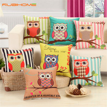 RUBIHOME Lovely Owls Cushion Without Inner Polyester Home Decor Sofa Car Seat Decorative Throw Pillow Hot Sale Housse(China (Mainland))
