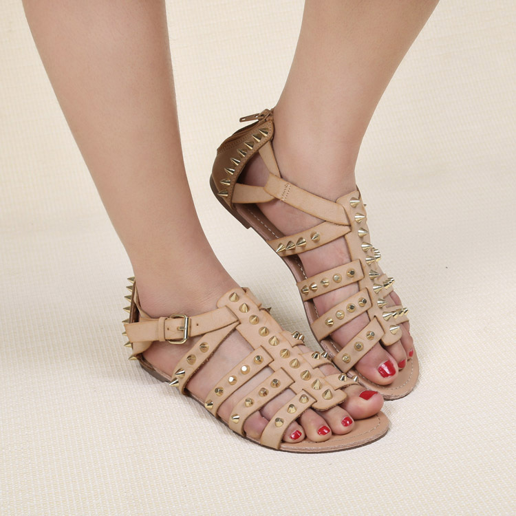 Women Sandals 2015 Punk Style Gladiator Shoes Studs Big Size Leather Casual Sandal KJ041<br><br>Aliexpress