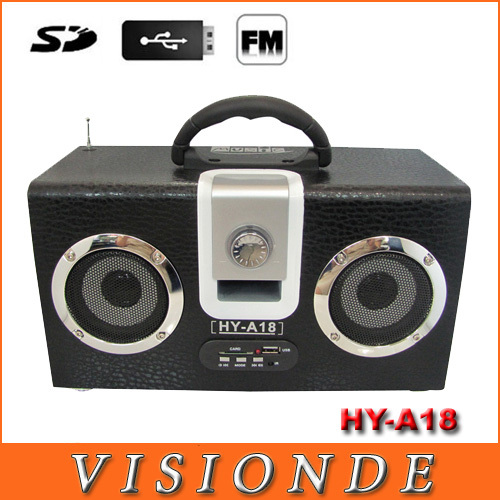 HY-A18 Wooden speaker,mini speaker,music box,gift box,mp3 speaker,FM radio,Support Memory Card/U disk,