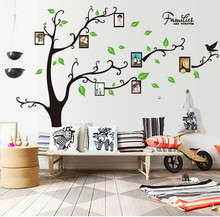 sitting room sofa background wall stickers the three generations of mobile photo frame tree wall stick a red black tree leaves
