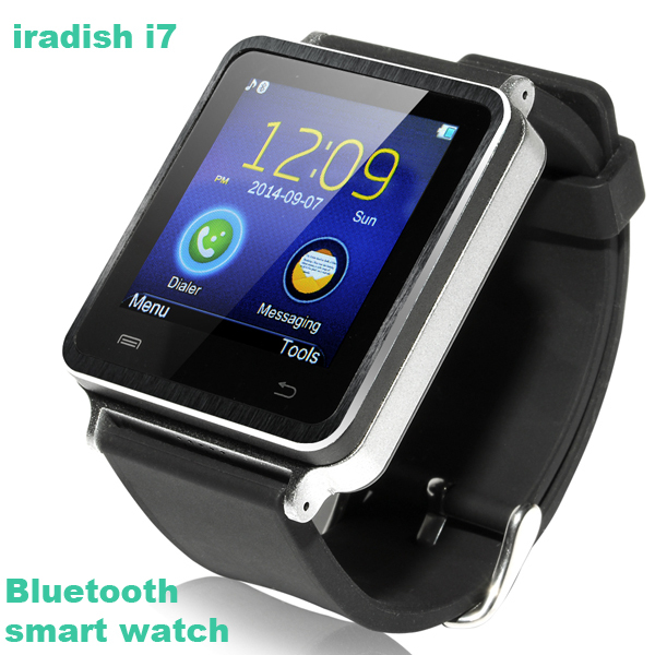 product Original iradish i7 Handsfree Watch phone Bluetooth Smart Watch MTK6260A + Pedometer + Remote control Sync Music/Call/Phonebook