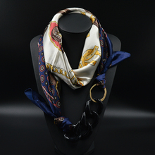 Silk Scarf Necklace Acrylic Pendant Long Neckerchief Scarves Women Printed Silk Muffler 2015 New Brand Designer Scarfs(China (Mainland))