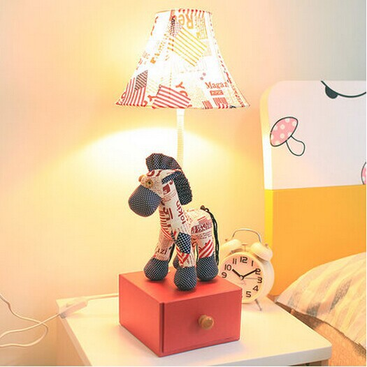 Free Shipping HGHomeart Children's room cartoon cloth creative animals bear bunny pony drawer lamp wedding table lamp birthday g(China (Mainland))