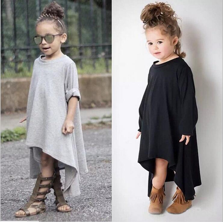 Top Quality 100% Cotton Brand Solid Color Girls Dress Full Dress One Piece Frock Design Roupa Bebes Clothes