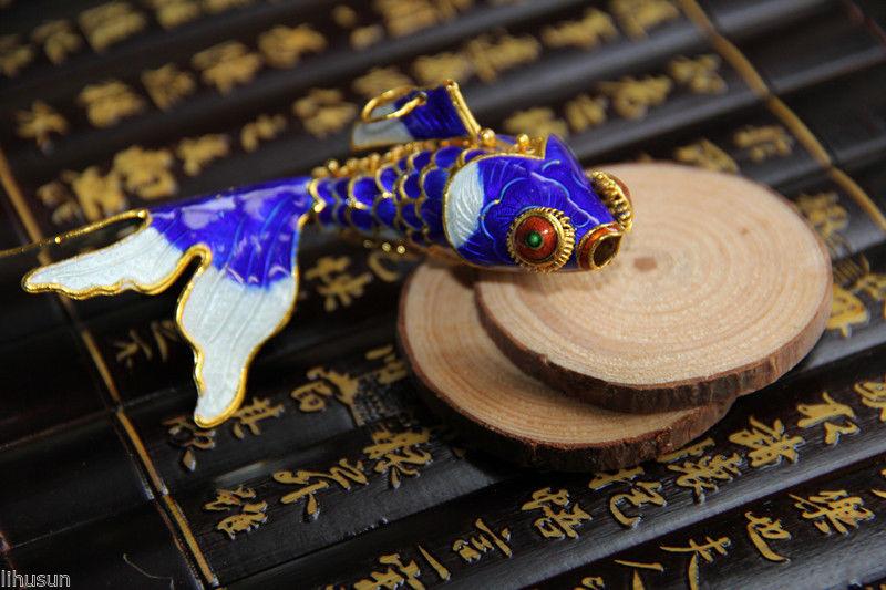 Wholesale10pcs Chinese Handmade Cute Cloisonne Enamel Fish Charm Ornament Straps(China (Mainland))