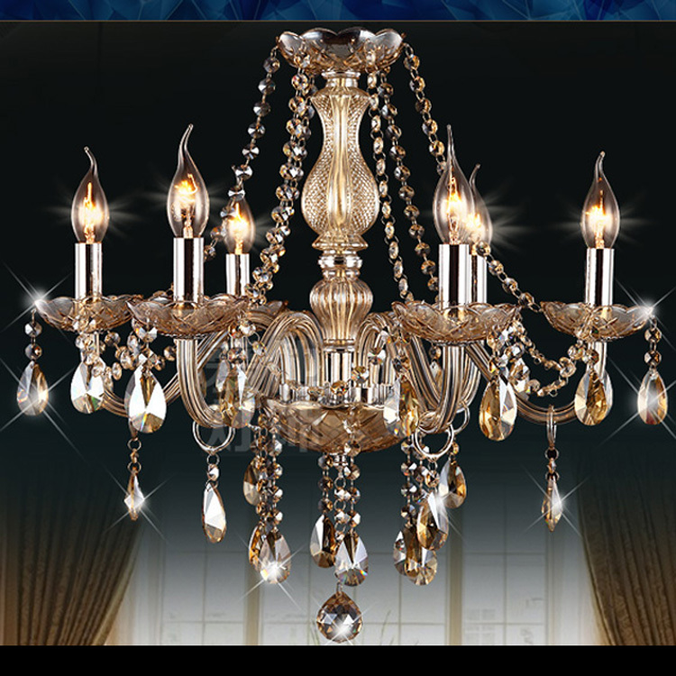 Free Shipping 6 Lights European Candle Crystal Chandeliers Fixtures 110-240V Voltage(China (Mainland))