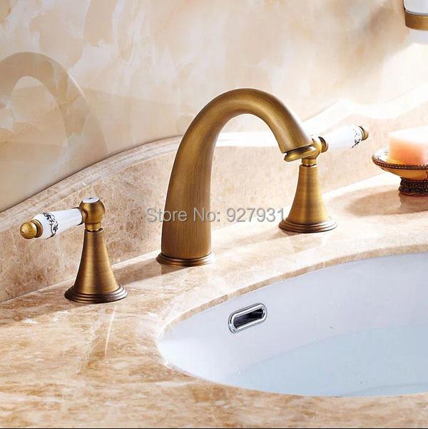 Фотография Widespread Retro Style Brass Bathroom Basin Sink Faucet Deck Mounted Dual Handles Basin Mixer Tap