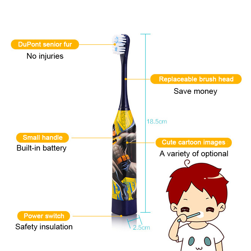 TOP New Children's Cartoon Electric Toothbrush Ultrasonic Cleaning Battery Models(China (Mainland))