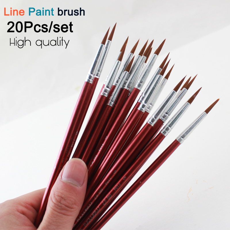 Memory 20Pcs Short Handle Artist Paint Brush Set Round Shape Nylon Hair Hook line Brush Set for Oil Watercolor Acrylic(China (Mainland))
