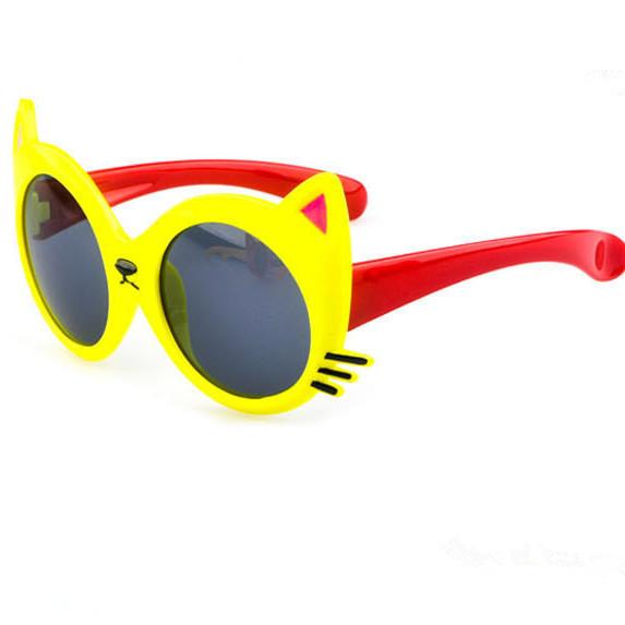 Летний стиль 2015 Новый Горячий продажа Высокого качества дети УФ солнцезащитные очки мультфильм кошка животное формы солнцезащитные очки для детей
