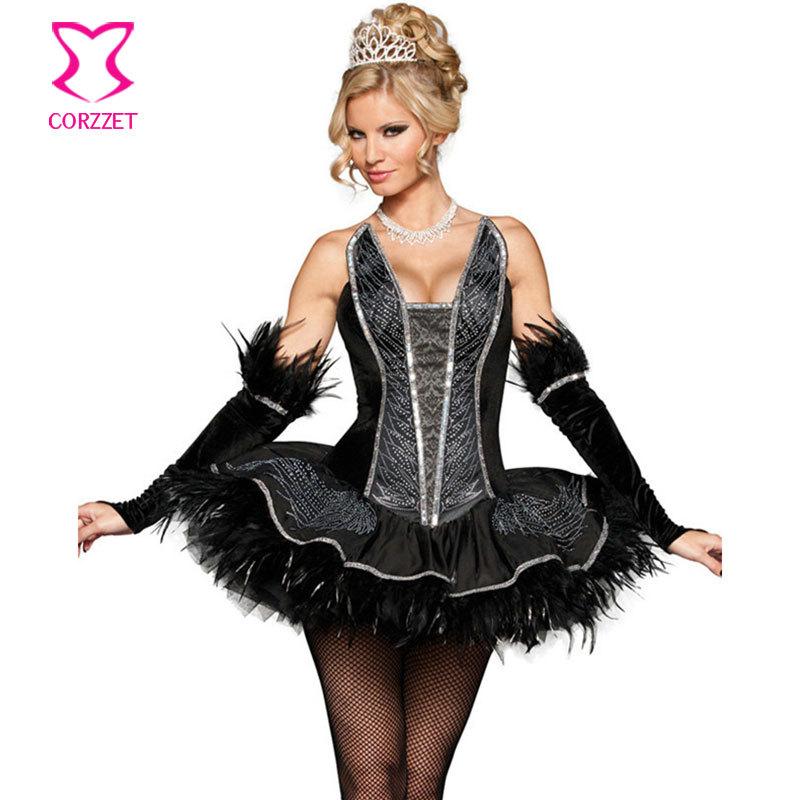 Plus Size Cosplay Costume Black Swan Queen Tutu Dress Sexy Halloween