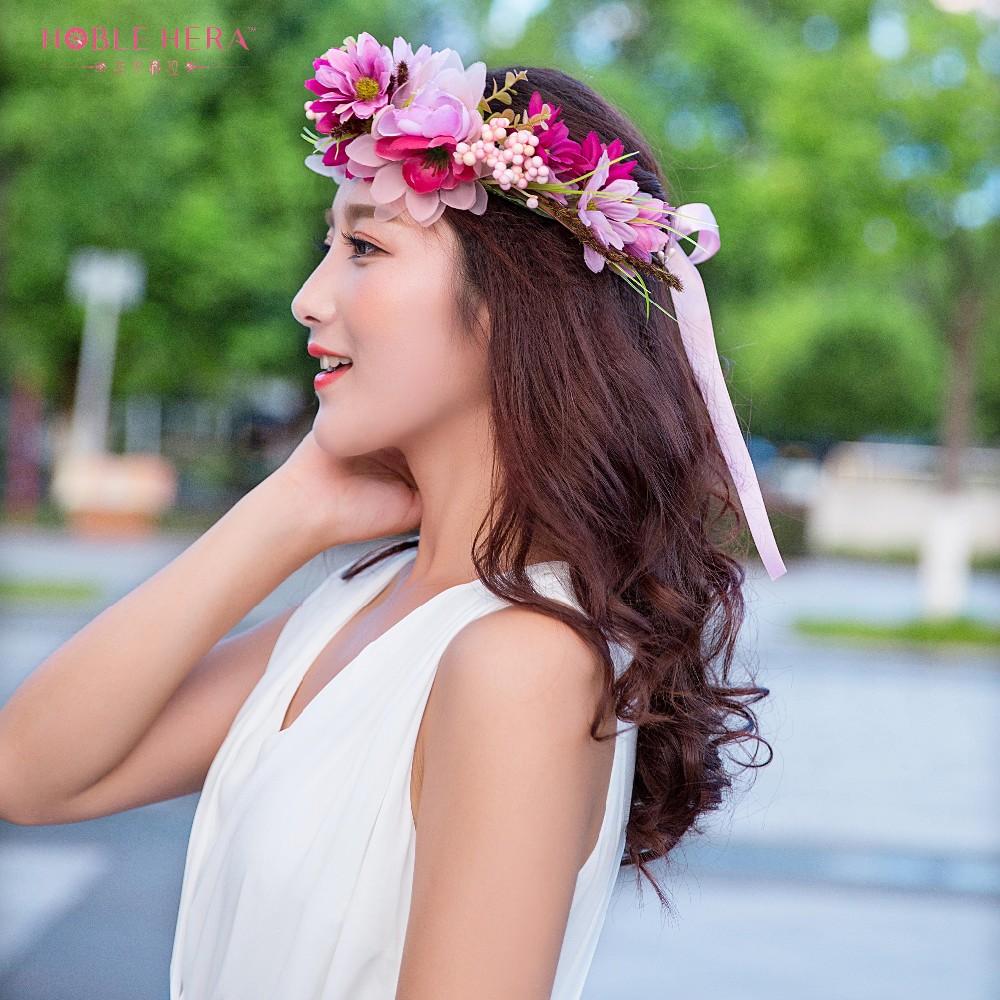2pcs Handmade Woman Girls Daisy Flower Headband Party Wedding Fabric