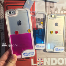 Lightning flash phone shell fish For iphone6 quicksand transparent protective sleeve For apple6 4.7 liquid shell Cover