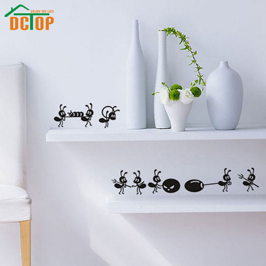 DCTOP 8 Ants Move House Funny Wall Stickers Home Decor Creative Stickers Adhesive Vinyl Wall Decals Kitchen Decoration(China (Mainland))