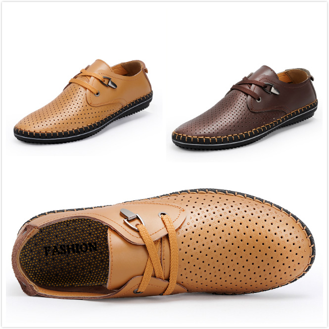 Manufacturers Selling Men's Casual Shoes Men's Summer Breathable Mesh Hollow Punching Leather Shoes Shoes Men(China (Mainland))