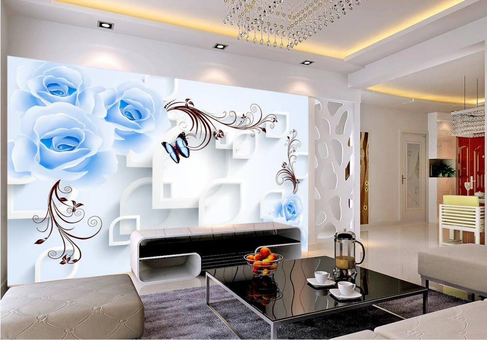 BLUELOVER roses vine 3D three-dimensional design custom 3d photo wallpaper Home Decoration(China (Mainland))