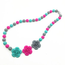 BPA Silicone Teeth Necklaces Silicone rose Bead Teething/nursing Necklace -silicone flower necklaces, baby chewable necklace(China (Mainland))