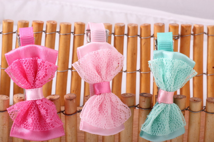 2015 New Lace Bow Hairpins Korean Style Children Double Bow Hairbands Cute Candy Color Hair Claws Hair Accessories Wholesale(China (Mainland))