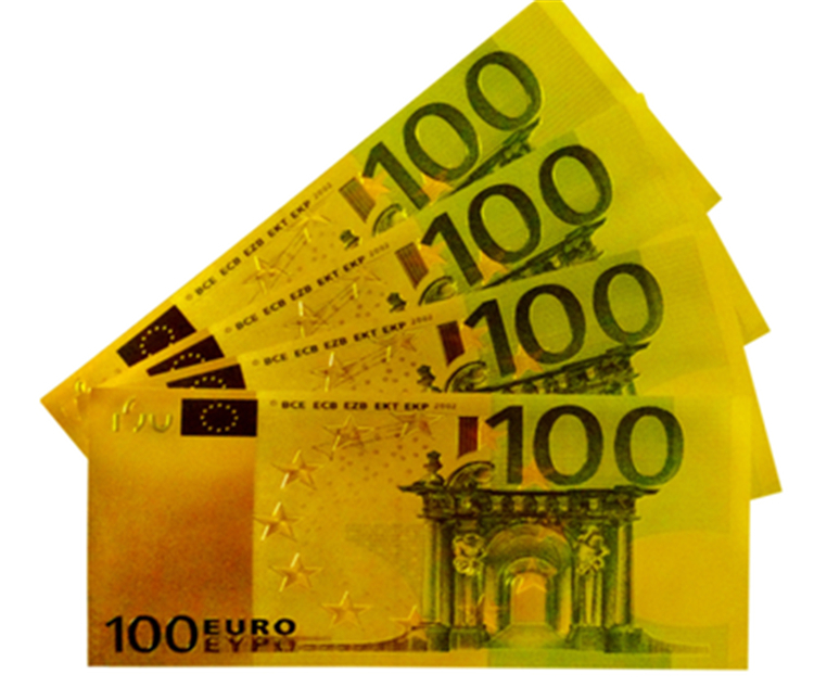 24k Gold EUR 100 Banknote 10pcs/lot Metal Decoration Colorful Gold Foil Plated Paper Money Business Gift(China (Mainland))