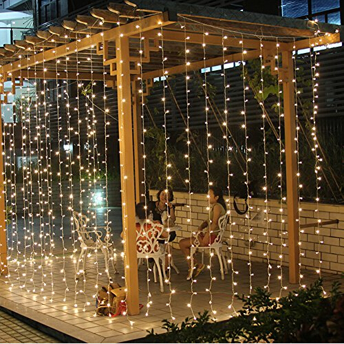 Curtain Of String Lights : 3Mx3M 300 LED Fairy String Curtains Light Window Icicle Lights Ideal for Indoor Outdoor Home ...
