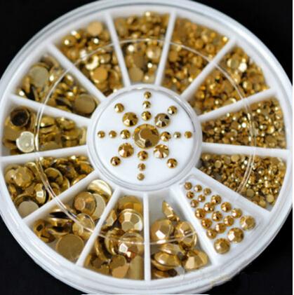 New Hot Sale 5 Sizes DIY 3D Nail Art Decoration Acrylic Glitter Gold Rhinestone 2015 free shipping(China (Mainland))