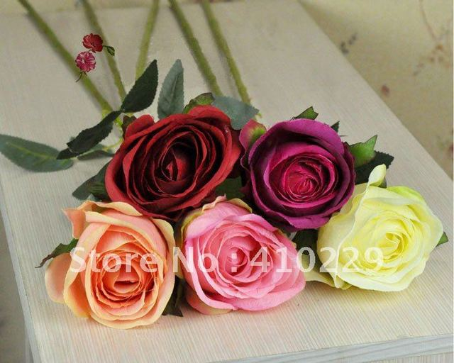 Free Shipping (15pcs/lot) 5 Colors Rose Artificial Flower, Wedding & Home Decoration