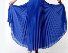 Summer Women Long Skirt Chiffon Pleated Maxi Skirts Elegant Brand High Waist Ball Gown Expansion Saia Longa Feminina