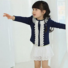 Autumn Cardigan for Baby Girls Knitted Sweater Baby Girl Clothes Long Sleeve Lace Cardigan 4-11 Years