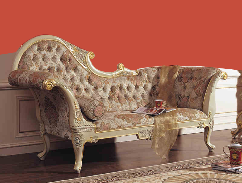2015 royal ltalian baroque style carved wood bed european for Baroque chaise lounge sofa