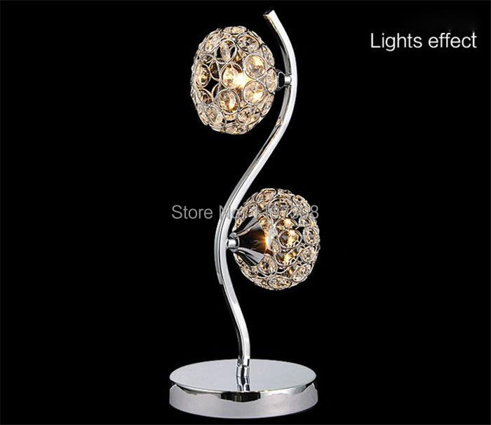 Фотография AC100-240V 2pcs G9 bulbs included Crystal Table light Dimmer Modern Desk Lamp Home Office Bedroom Lampshade Decoration Luminaire