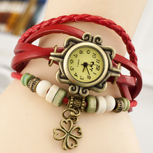 New Fashion Hot Colorful Vintage Women Watches Clover Weave Wrap Rivet Leather Bracelet Wristwatches Watch Hand Knit