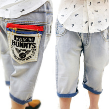 Hot Sale 2015 New Spring And Summer Boys Jeans Children Knee Length Pants Korean Kids Trousers B150 (China (Mainland))