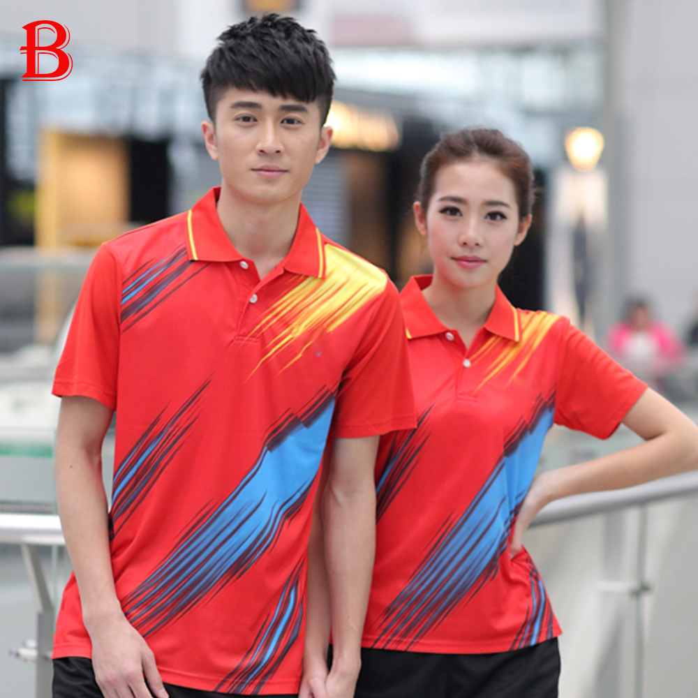 2016 Table Tennis Polo Shirts Beautiful Men And Women Couple Quick Dry Table Tennis Shirts BTF06(China (Mainland))