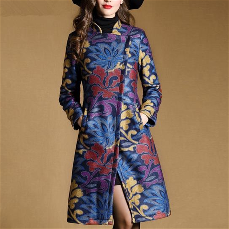 S-2XL 2016 New European High-end Turn-down Collar Print Cashmere Jacket Women Autumn Winter Long Slim Blended Woolen Coat ZS678Одежда и ак�е��уары<br><br><br>Aliexpress
