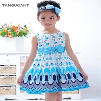 TANGUOANT Girl dress, Princess Bow Belt dress Circle Bubble Peacock print kids clothes, girl