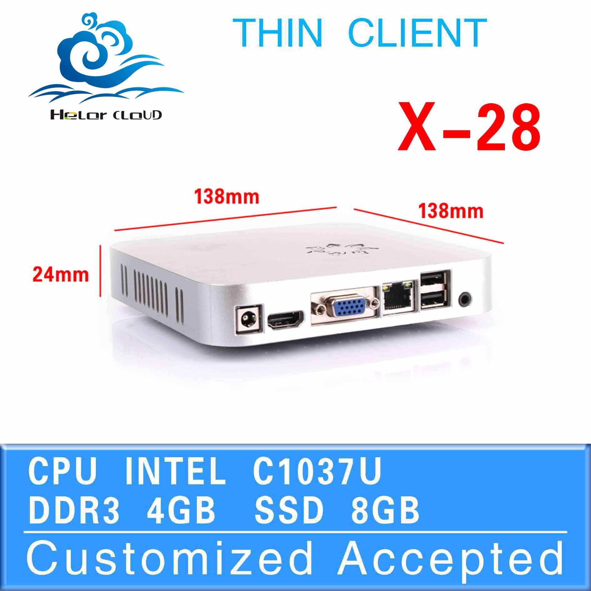 C1037U desktop computer thin client mini pc X-28 4GB RAM 8GB SSD support WIN7, Linux, Windows 95 etc.(China (Mainland))
