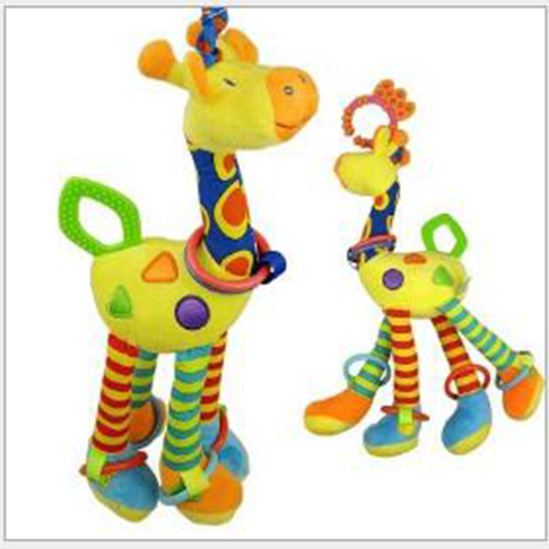 Wholesale 46cm Cute Stuffed Animal Toy Giraffe baby Stroller Hanging Bed Hung With Rattles BB Device Ring Paper Teether(China (Mainland))
