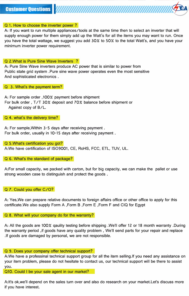10  customer Question