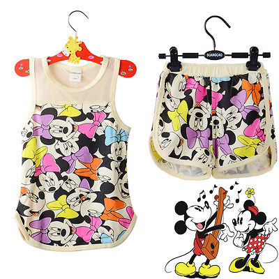 Girls Cartoon Mouse Minnie Suits Kids Sleeveless Top Pants Outfits 2-7 Y Children set(China (Mainland))