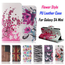 Flower Pattern PU Leather Wallet Case for Samsung Galaxy S4 Mini Case with Stand Fashion Cover for SAMSUNG GALAXI S4 MINI Case(China (Mainland))