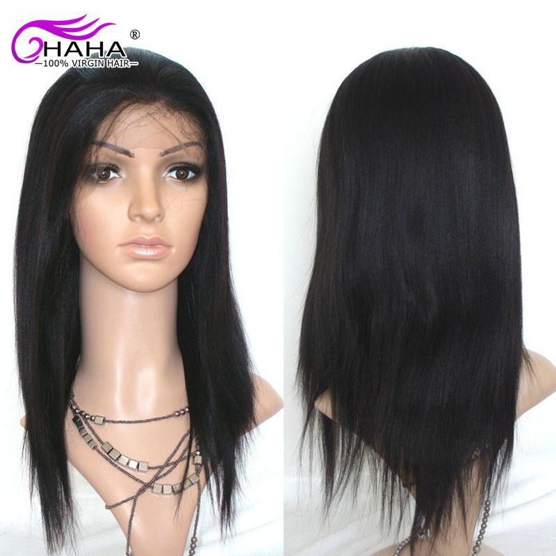 Wholesale 7A Long Italian Yaki Straight Lace Front Human Hair Wigs Glueless Virgin Brazilian Hair Light Yaki Straight Full Wig(China (Mainland))