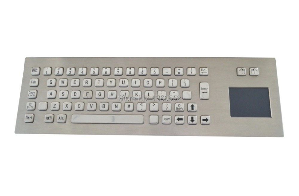 Industrial computer keyboard with USB&Touchpad,65 keys Front Panel Mounting metal keyboard, IP65 Stianless steel kiosk Keyboard(China (Mainland))
